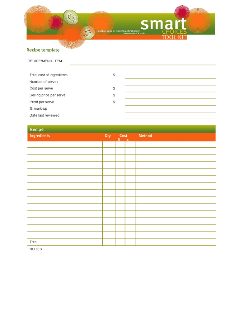 Recipe Template 4 Free Templates In PDF Word Excel