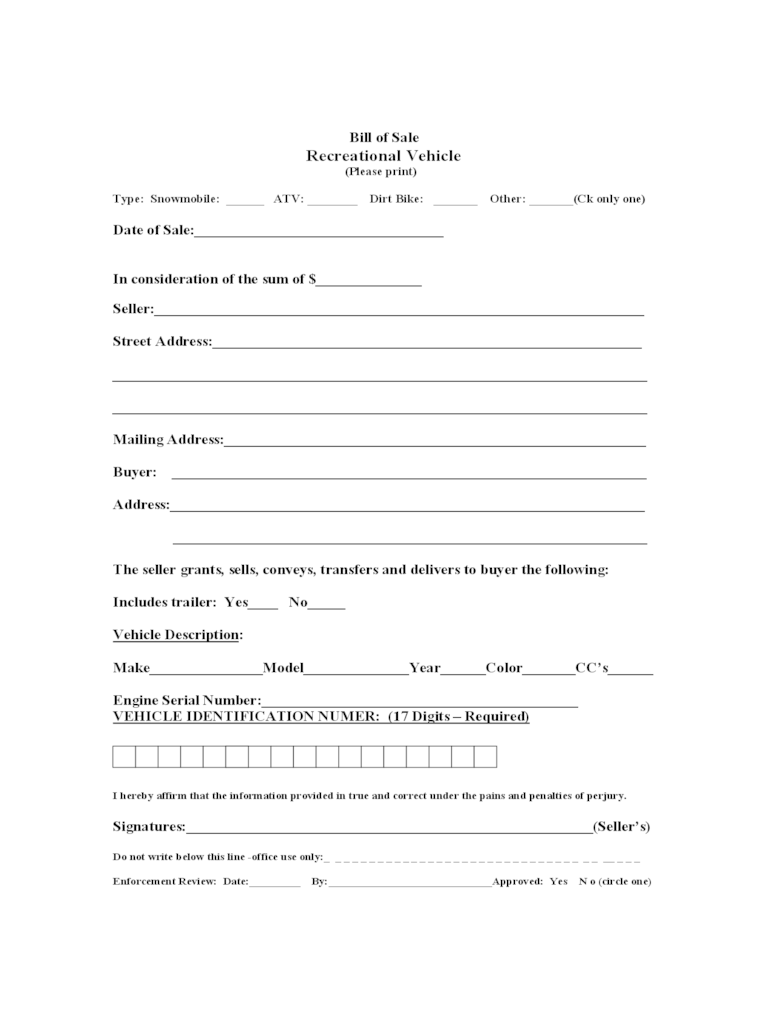 Recreational Vehicle Bill Of Sale Form 3 Free Templates