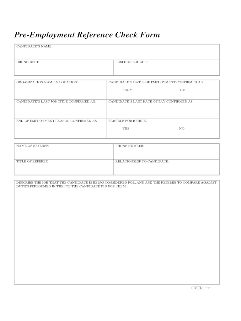 employment reference check template