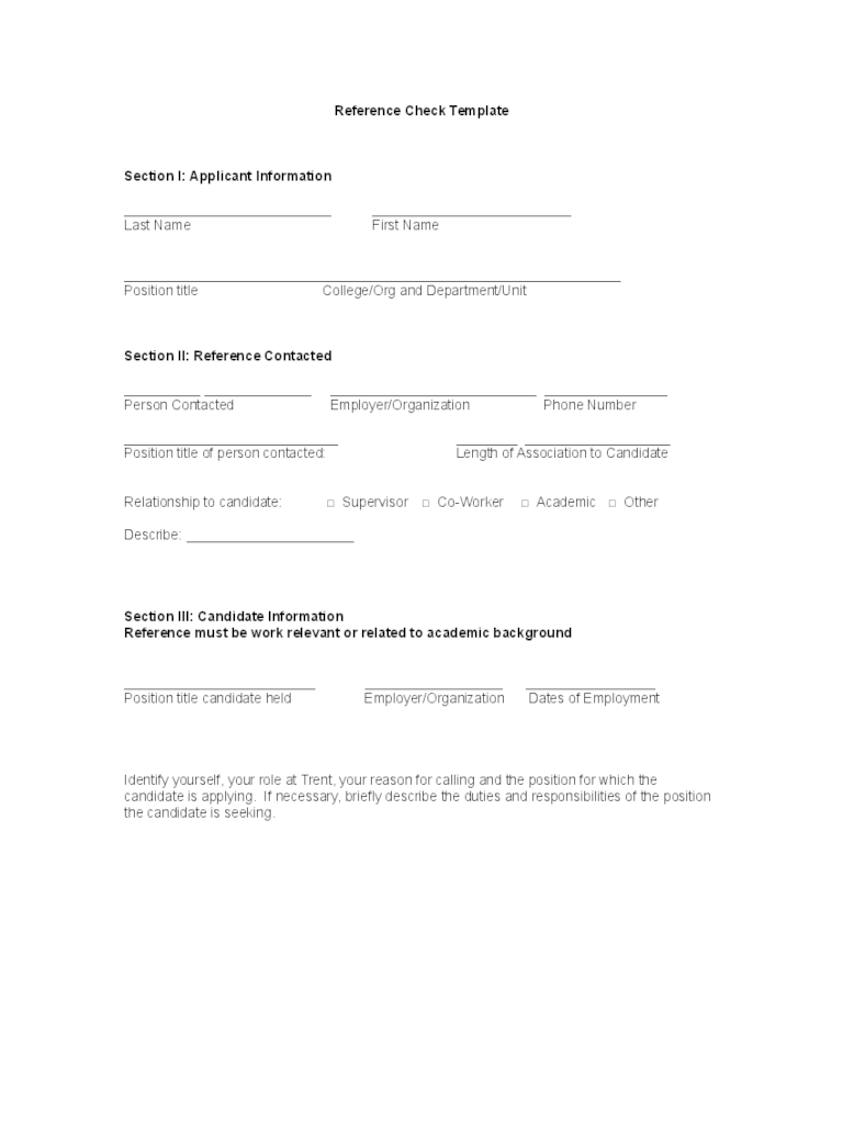 Referee Check Template