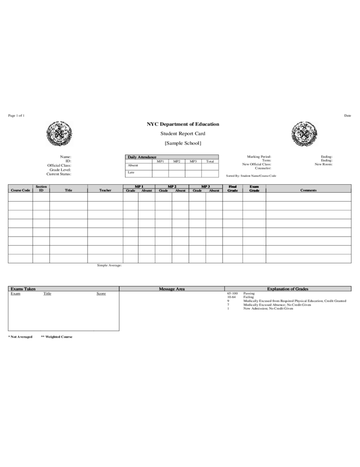 Student Report Card  NYC Department of Education Free