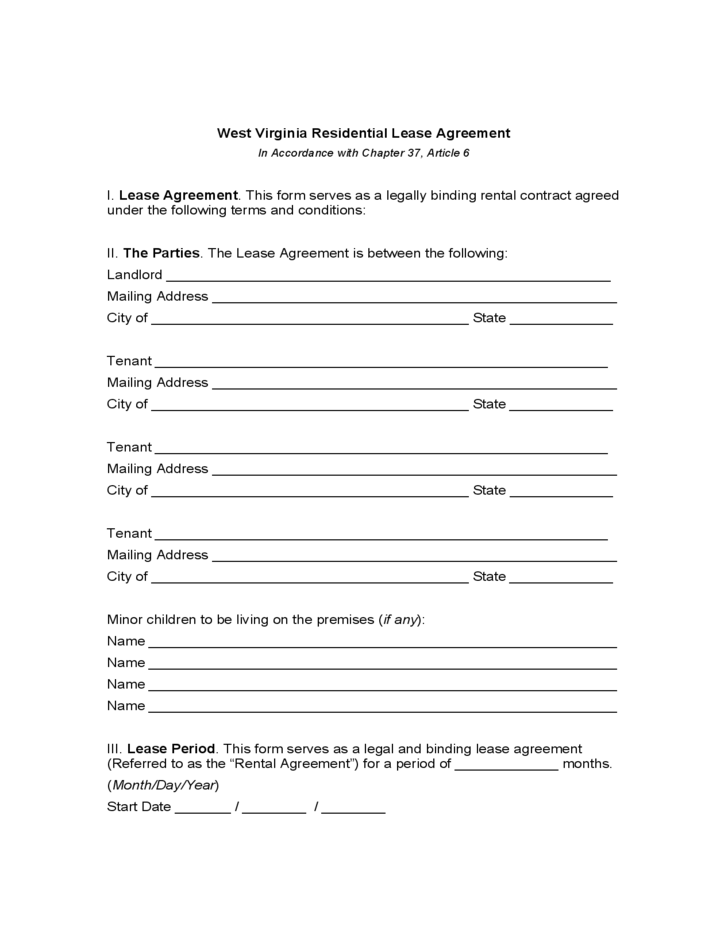 West Virginia Residential Lease Agreement Free Download