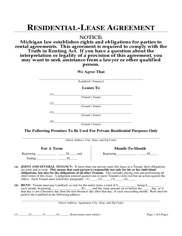 6 Month Lease Rent Agreement