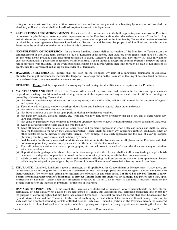 free lease agreement template