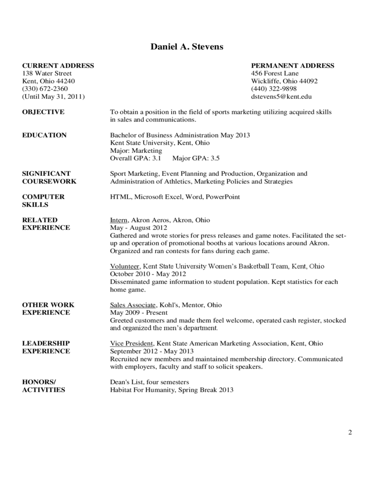 Examples Of Resume Letter