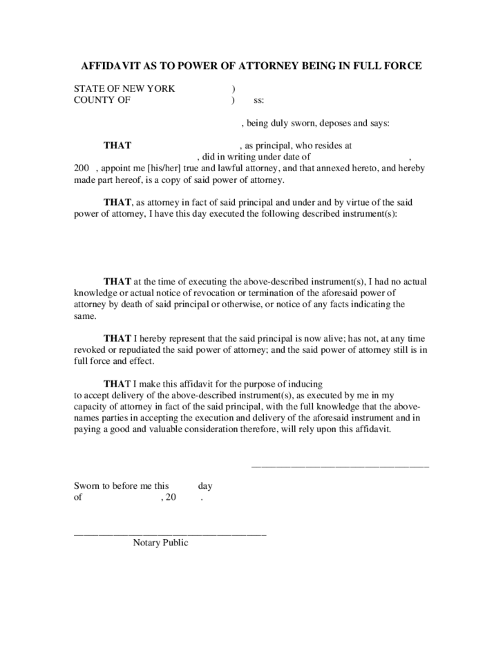 Affidavit As To Power Of Attorney Being In Full Force