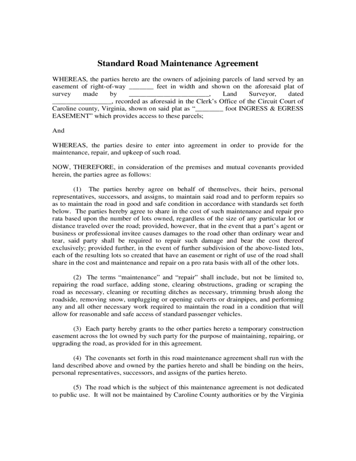 Road Maintenance Agreement Sample Form Free Download