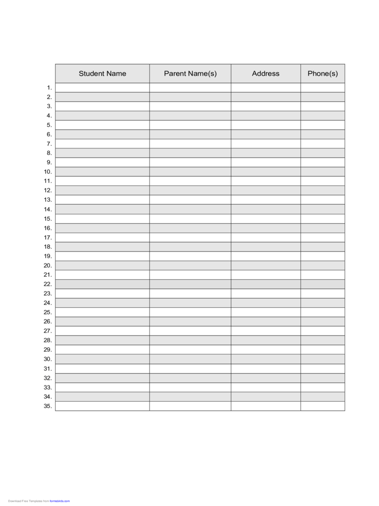 Roster Template 6 Free Templates In PDF Word Excel