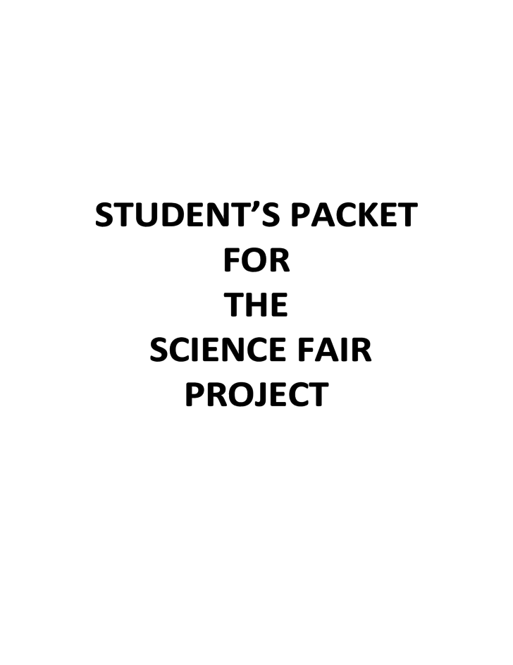 Student's Packet for the Science Fair Project Free Download