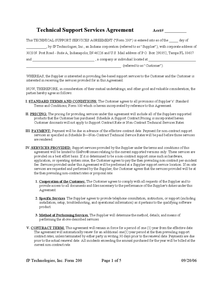 Sla or service level agreement is a legal commitment of service provider and a customer. Technical Support Service Agreement Free Download