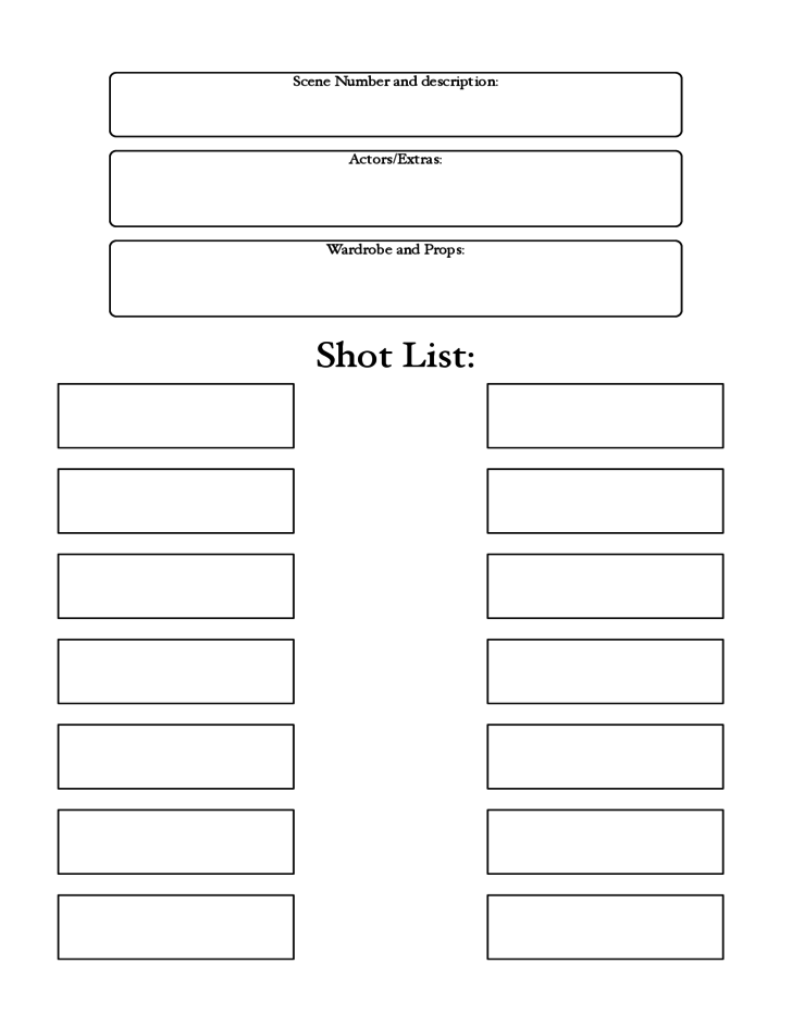 Blank Shot List Template Free Download