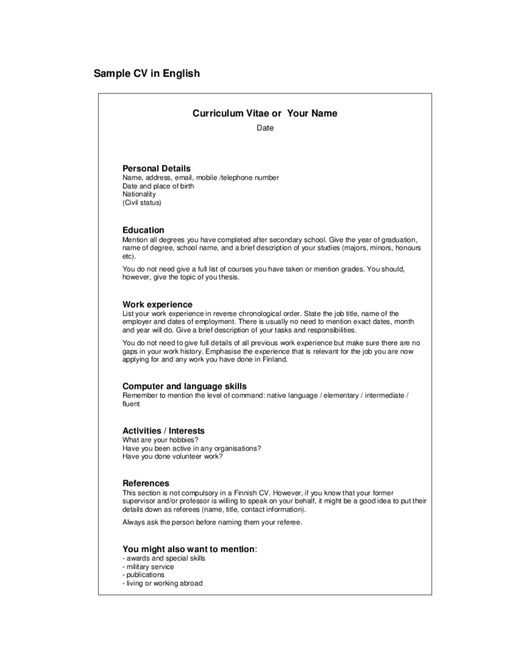 Simple CV Example Free Download