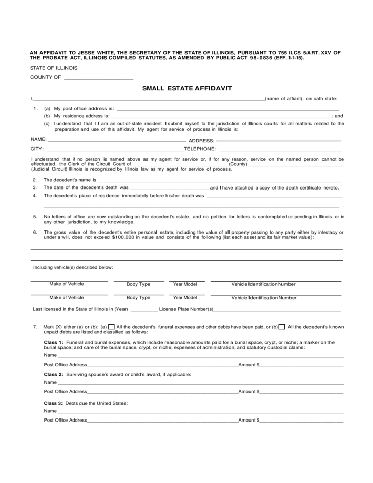 Small Estate Affidavit Form Illinois Free Download