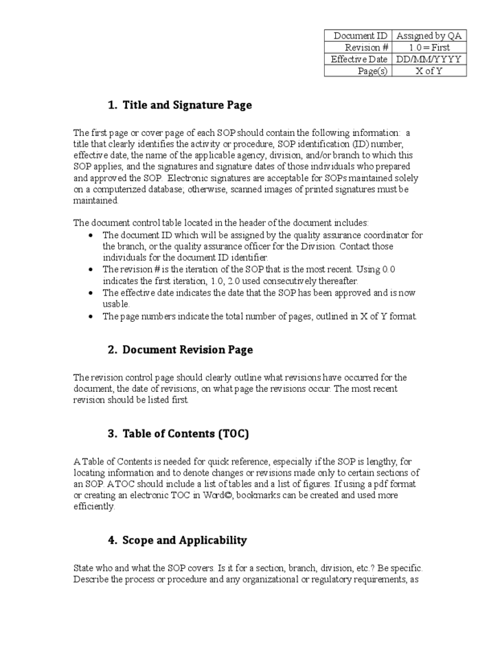 Administrative SOP Template Kentucky Free Download