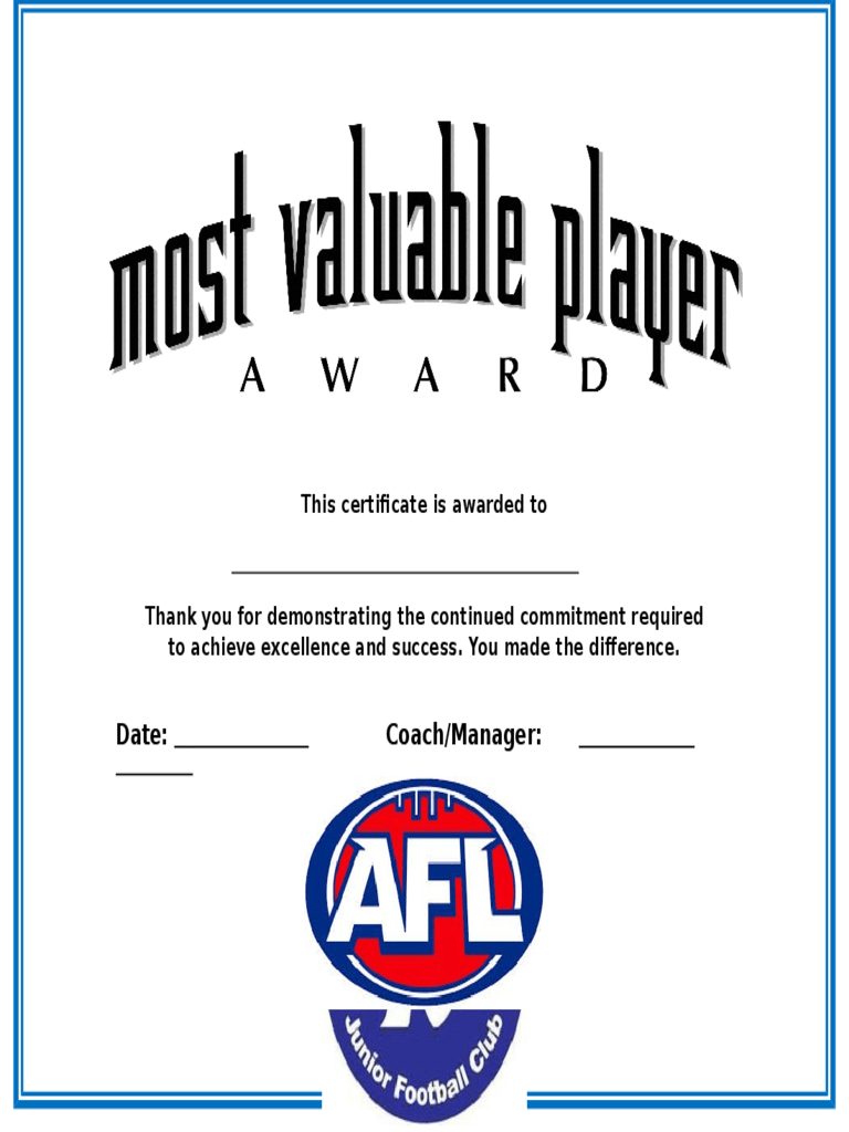 most improved award template