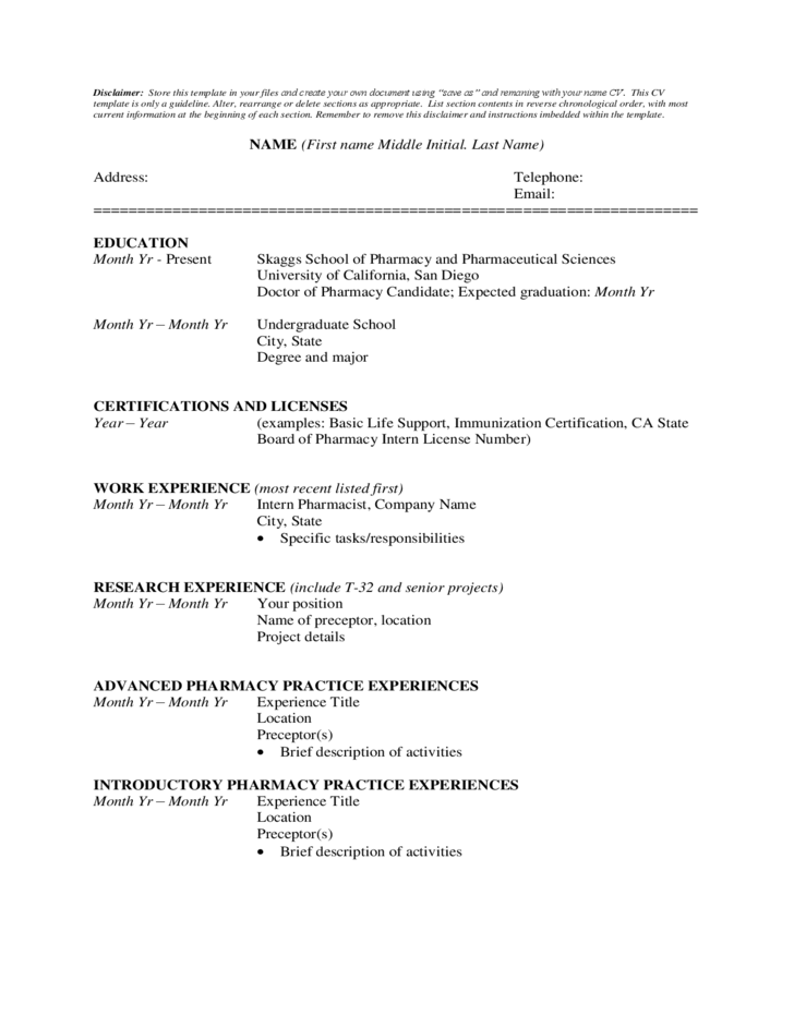 Student CV Format Free Download