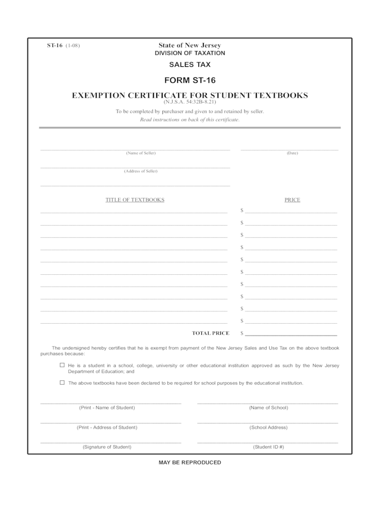 Student Tax Exemption Form