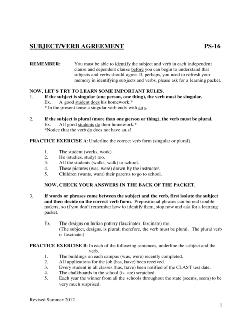 small resolution of Subject Verb Agreement Worksheets Sample Free Download