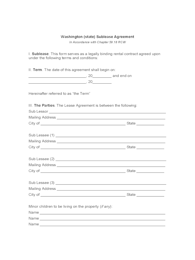 Washington Rent And Lease Template Free Templates In PDF Word Excel To Print