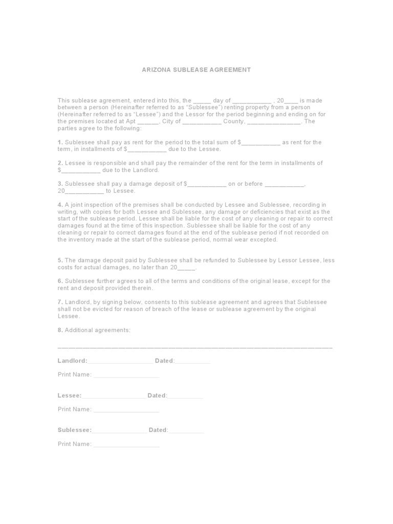 Arizona Rent And Lease Template Free Templates In PDF Word Excel To Print