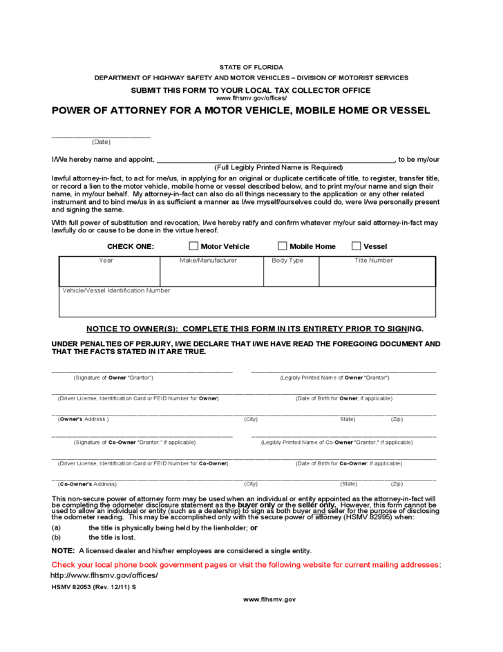 Florida Division Of Motor Vehicles Power Attorney Form Newmotorspot