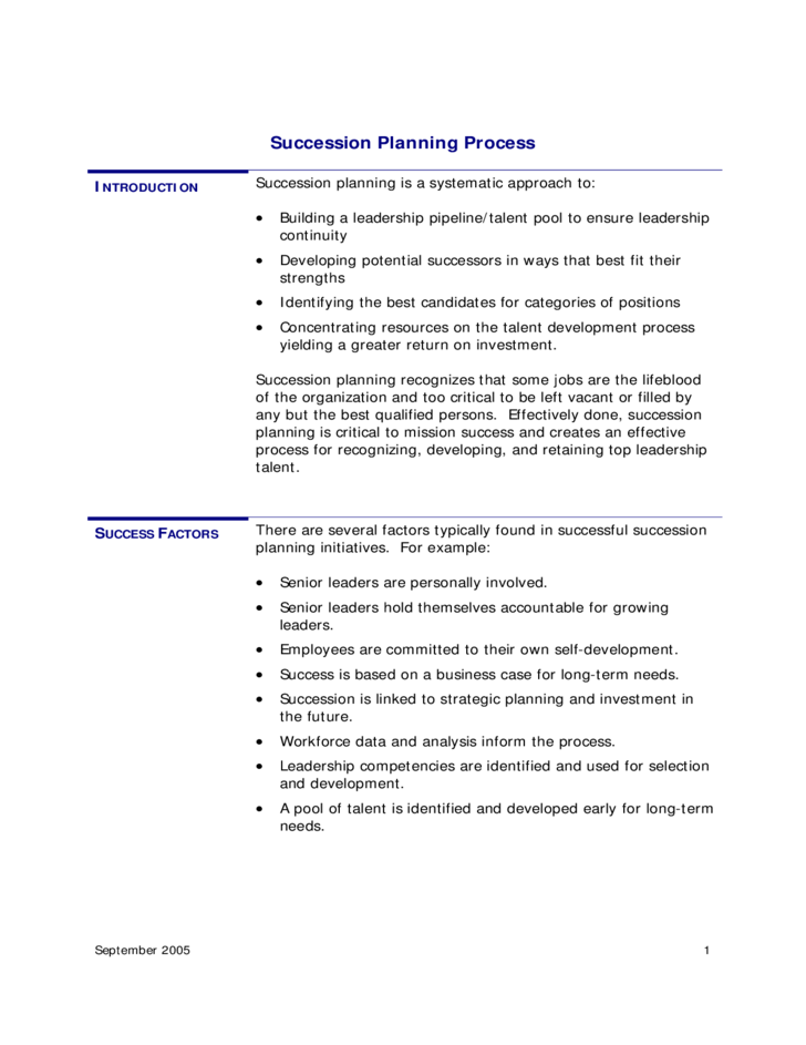 Succession Planning Process Template Free Download