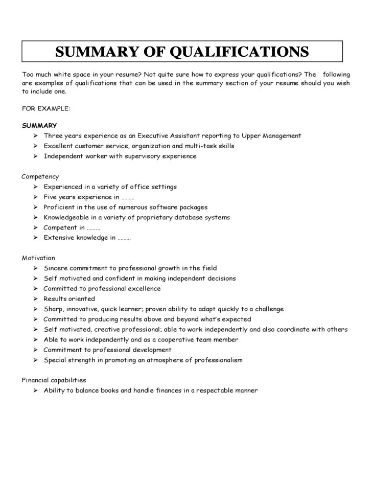 resume executive summary