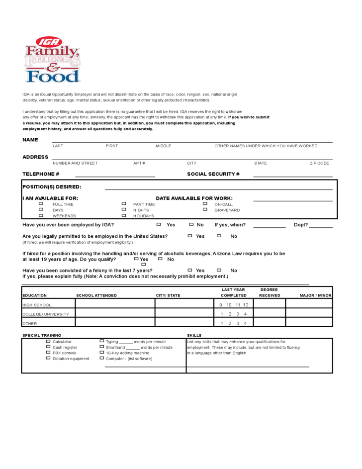 IGA Job Application Form Free Download