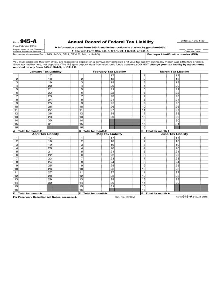 Annual Record of Federal Tax Liability Free Download