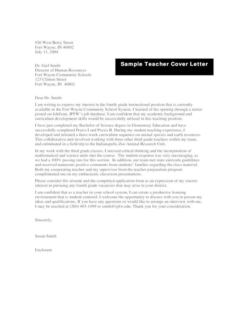 Teacher Cover Letter Examples  4 Free Templates in PDF Word Excel Download