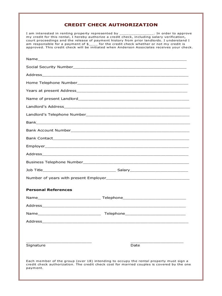 Credit Check Application Form