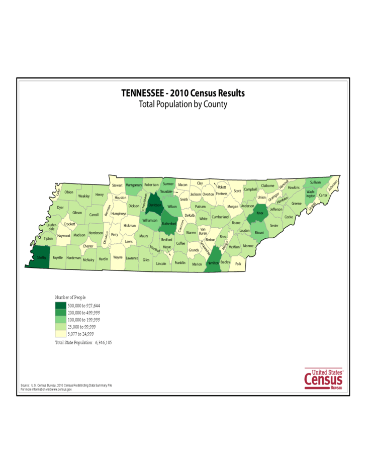 Tennessee County Population Map Free Download