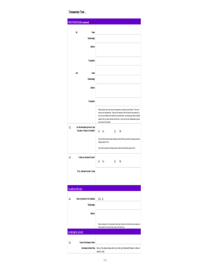 Testamentary Trust Application Form Free Download