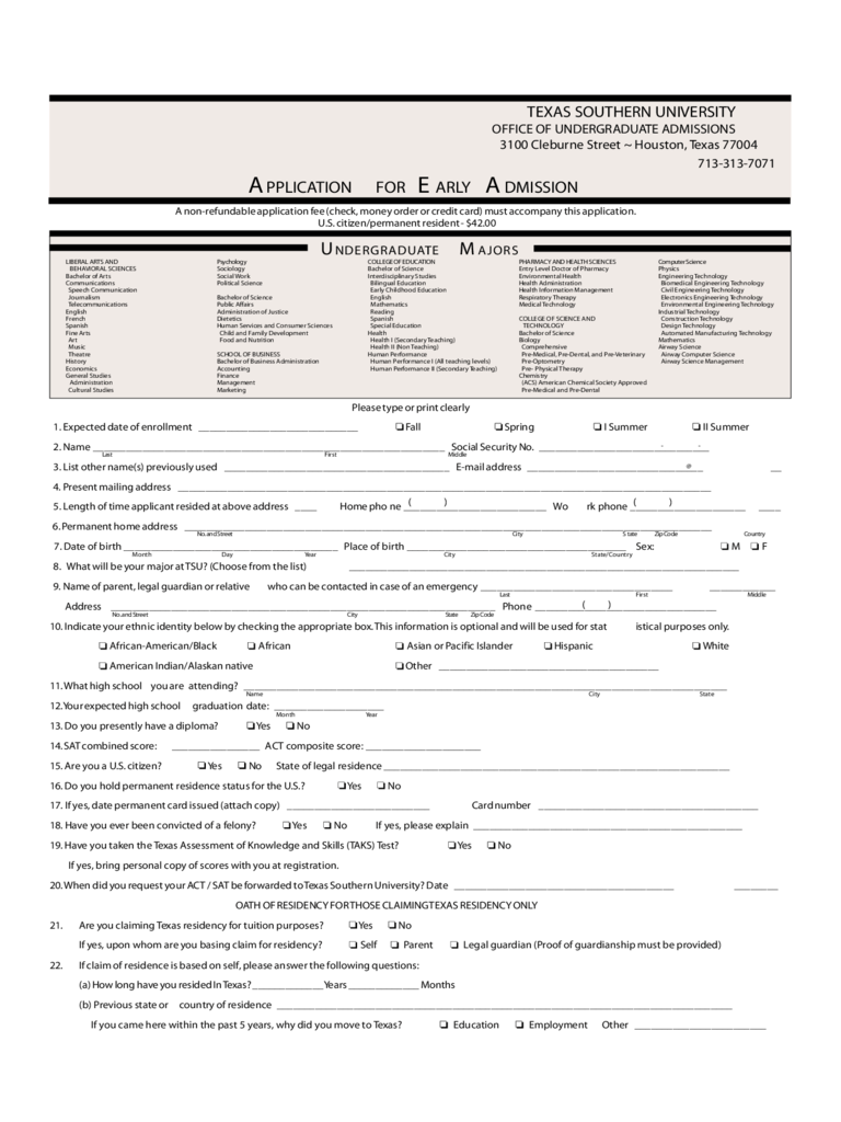 Texas A&M University Application Form 1 Free Templates
