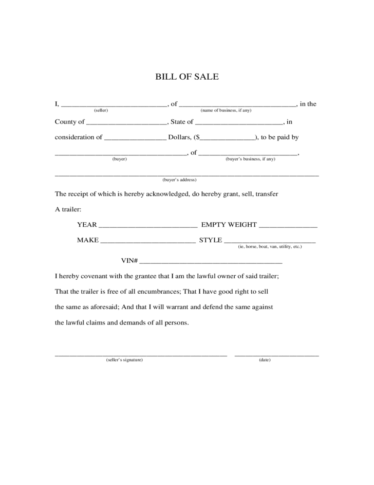 bill of sale form for a trailer