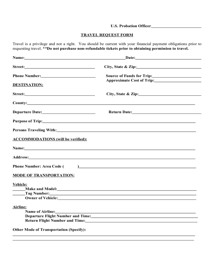 Travel Request Sample Form Free Download