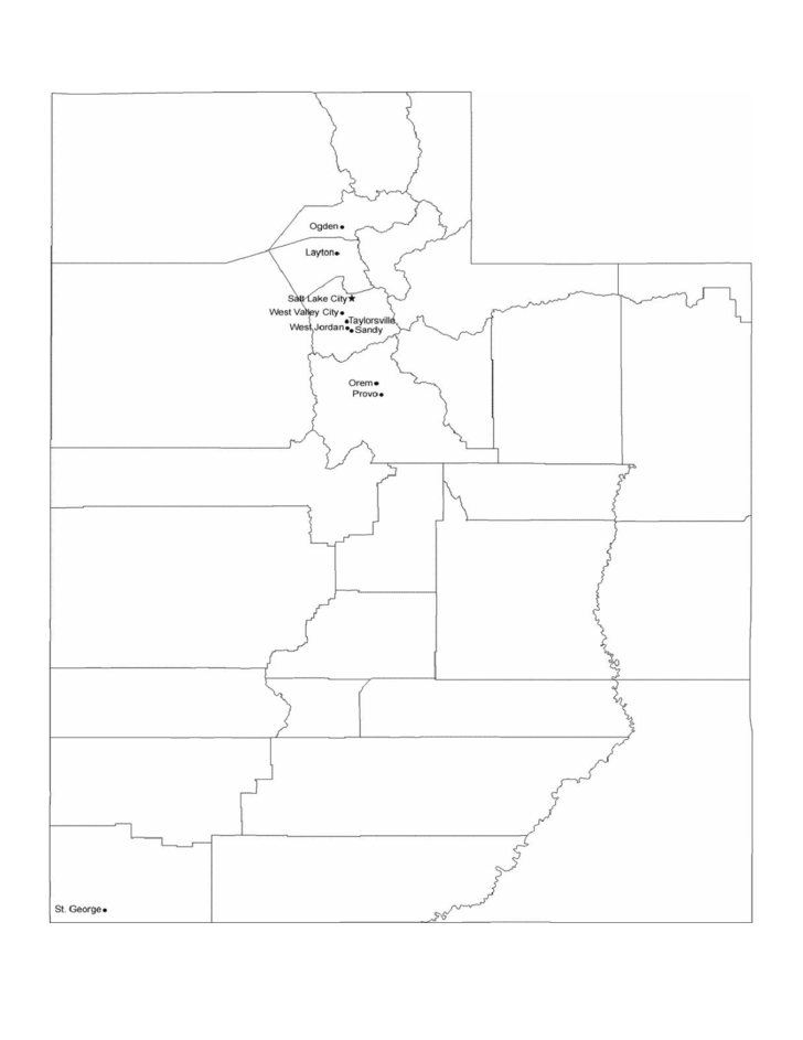 Map of Utah Cities with City Names Free Download