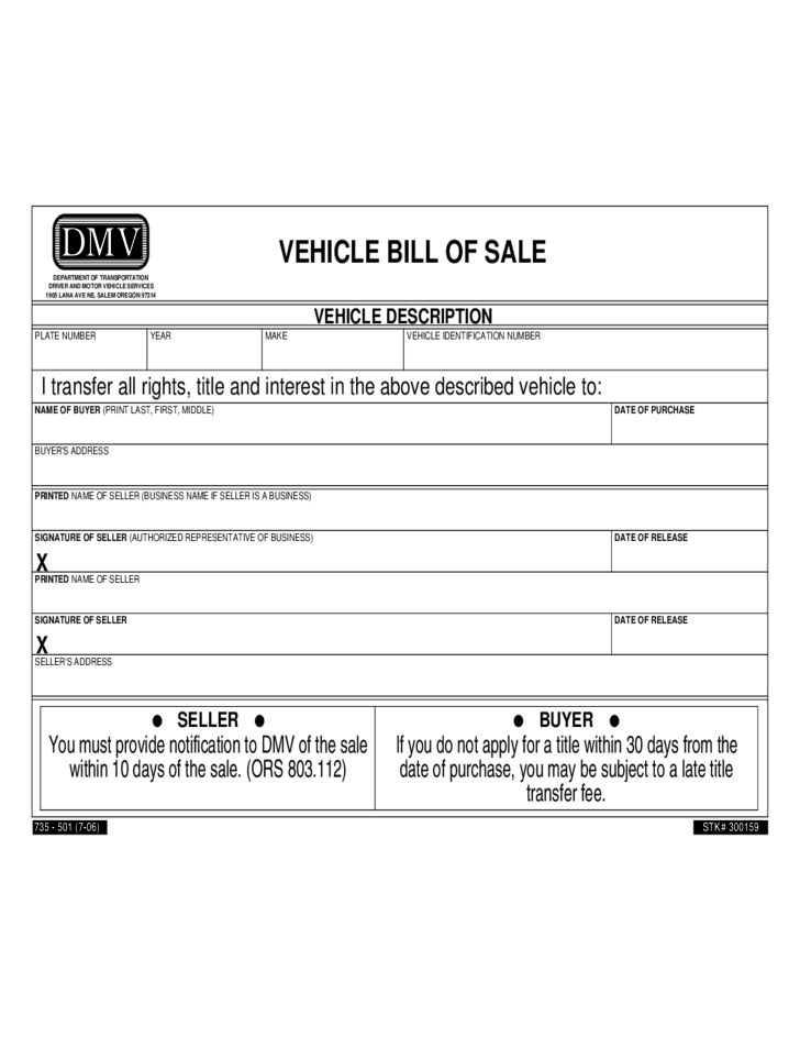 Vehicle Bill Of Sale Form Sample Free Download