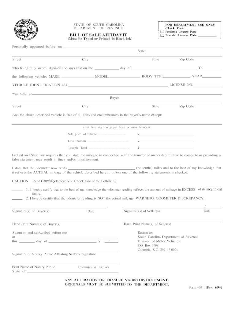 South Carolina Bill Of Sale Form Free Templates In PDF Word Excel To Print