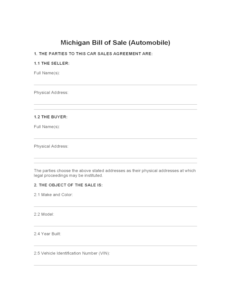 automobile bill of sale form pdf