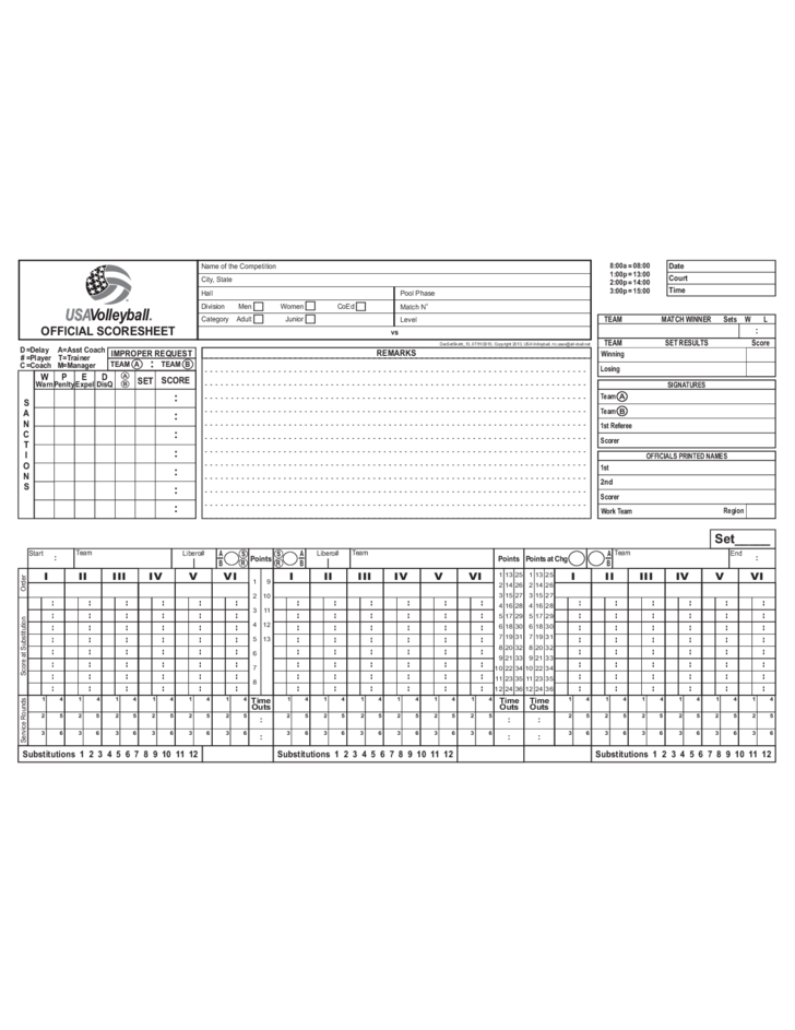 Usa Volleyball Official Score Sheet Printable
