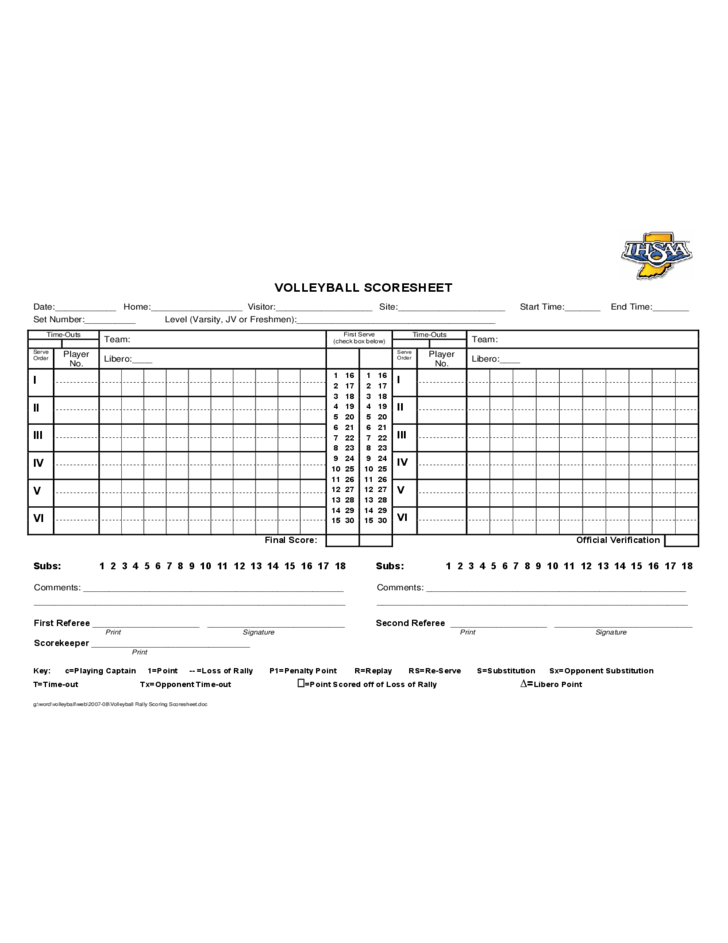 Volleyball Score Sheet Sample Free Download