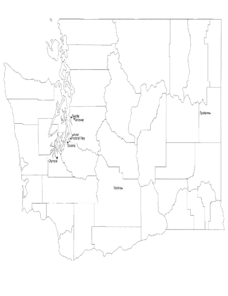 Map of Washington Cities with City Names Free Download