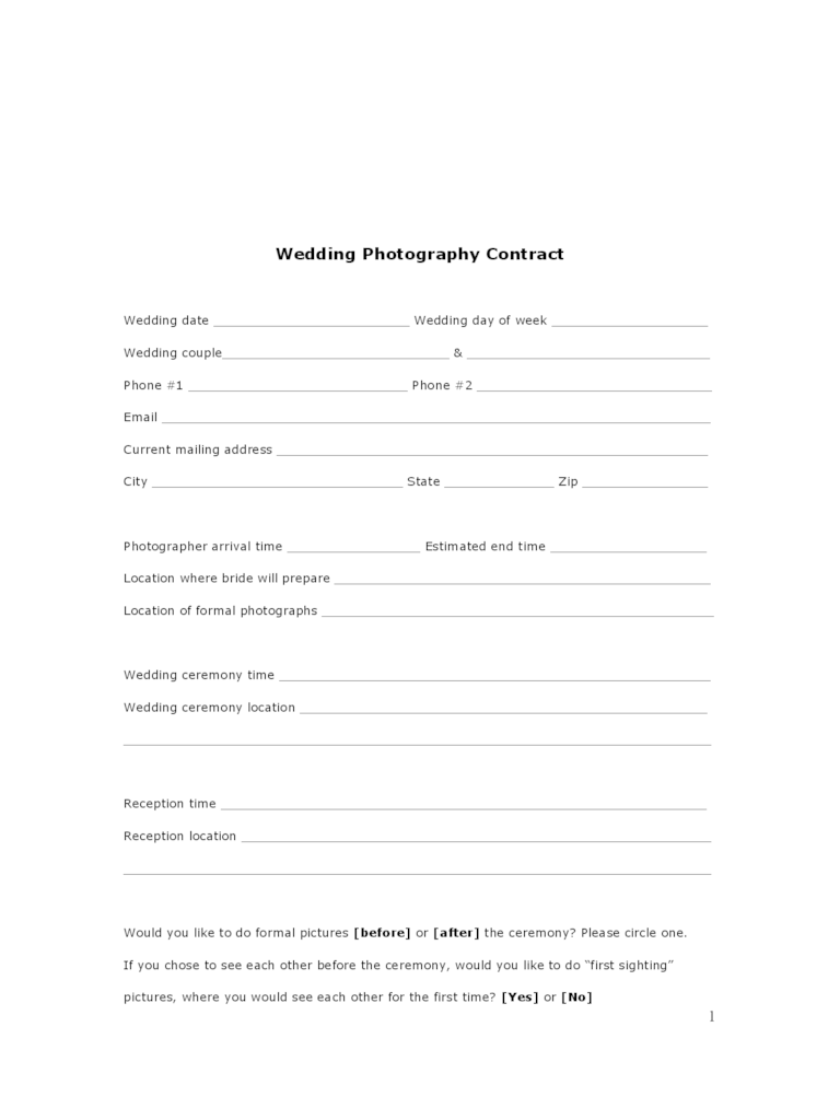 Wedding Contract Template  2 Free Templates in PDF Word