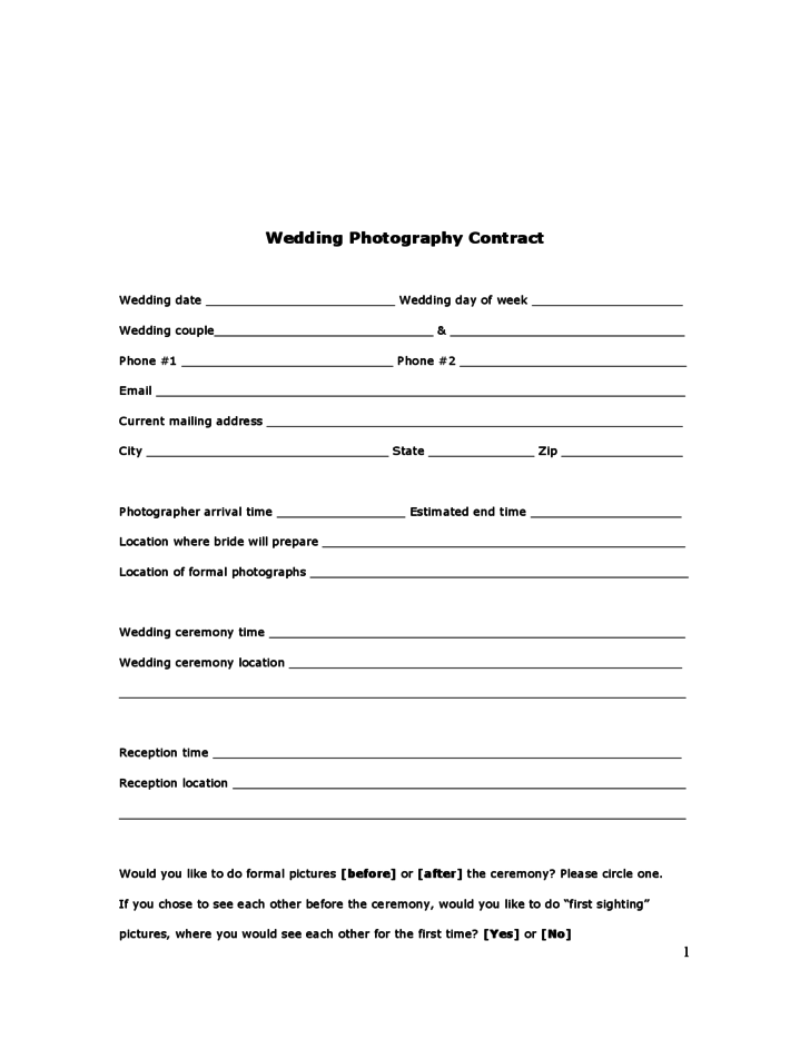 Wedding Photography Agreement Forms