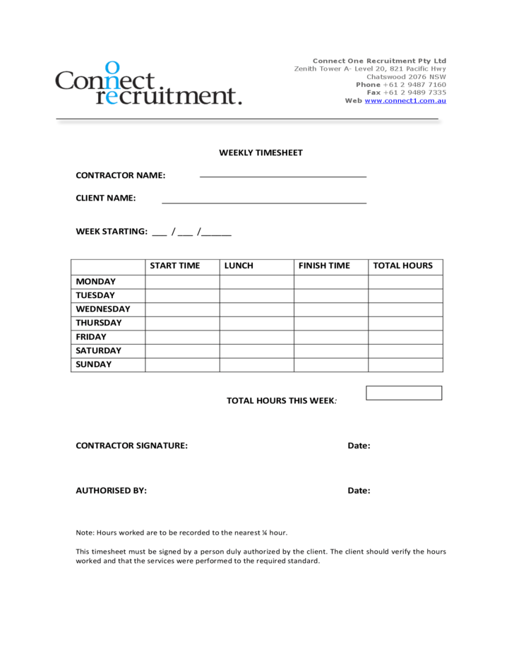 Weekly Timesheet Connect One Recruitment Free Download