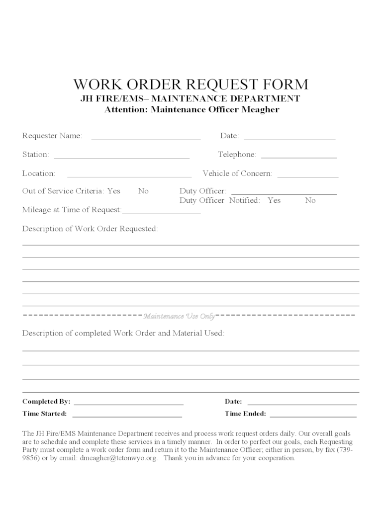 The form is essential to business in the following ways. Work Order Template 4 Free Templates In Pdf Word Excel Download