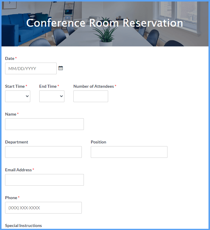 Could you provide me conference room booking template, our office has one conference room and the staff could book in 8hrs either all the time or in breakup of 2hrs excluding lunch break between 1 p.m to 1.30 p.m. Conference Room Reservation Form Template Formsite