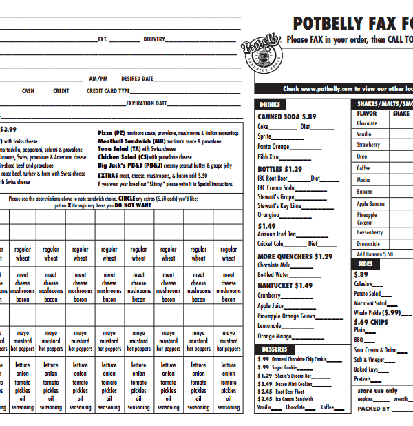 Potbelly Fax Order Form