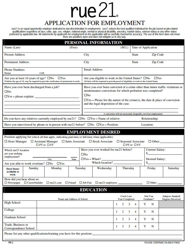 Rue 21 Printable Application Form